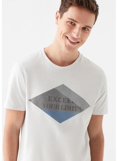 Mavi Exceed Baskılı  Tişört Beyaz